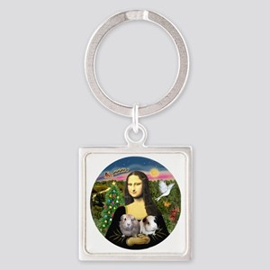 R-Mona-Two GuineaPigs Square Keychain