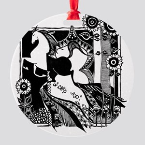 iTouch4_Case_2.272x4.12_horse_black Round Ornament