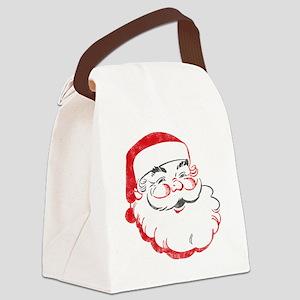 Smiling Santa Face Canvas Lunch Bag
