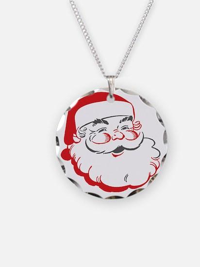 Santa Necklace Circle Charm