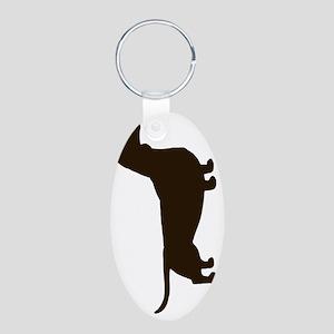 dachshundvert Aluminum Oval Keychain