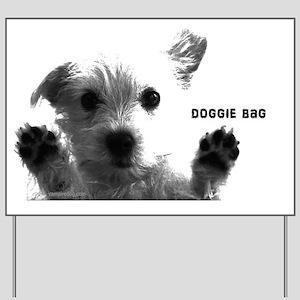 cute dog doggie bag with cute dog photo  Yard Sign