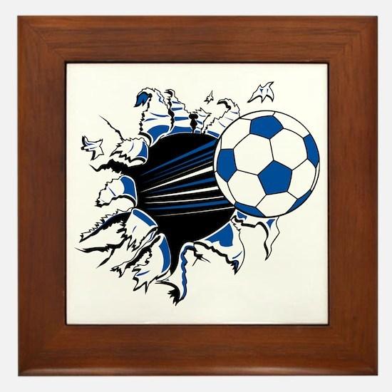 Soccer Ball Burst Framed Tile