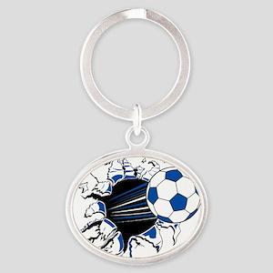 Soccer Ball Burst Oval Keychain