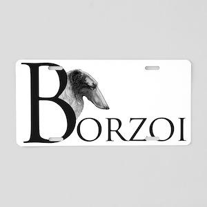 BorzoiLogoBlack Aluminum License Plate