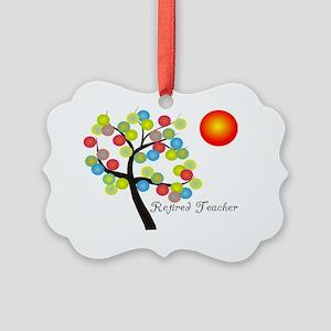 retired teacher pendant 2 Picture Ornament