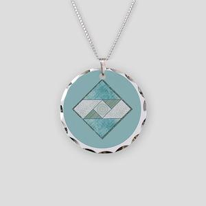 Attic Window Blue  Green Rou Necklace Circle Charm