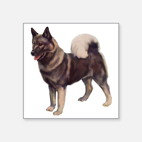 "norwegian elkhound standing Square Sticker 3"" x 3"""