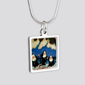 funny nuns catch a wave or Silver Square Necklace