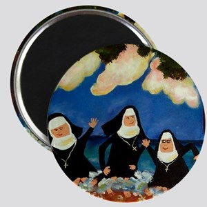 funny nuns catch a wave ornament Magnet