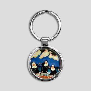 funny nuns catch a wave ornament Round Keychain