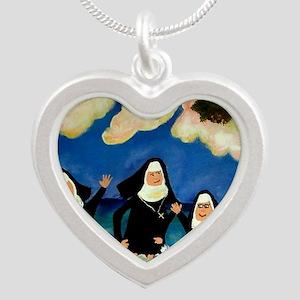 funny nuns catch a wave orna Silver Heart Necklace