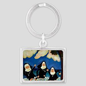 funny nuns catch a wave ornamen Landscape Keychain