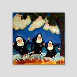 "funny nuns catch a wave orn Square Sticker 3"" x 3"""