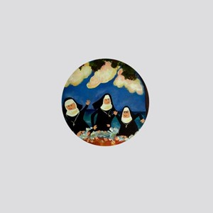 funny nuns catch a wave ornament Mini Button