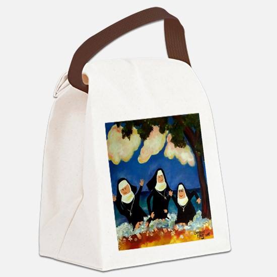 funny nuns catch a wave ornament Canvas Lunch Bag