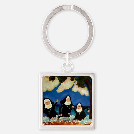 funny nuns catch a wave ornament Square Keychain