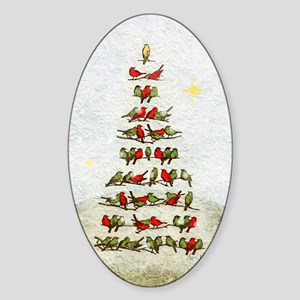 arbre-oiseaux-christmas-tree-lore-M Sticker (Oval)