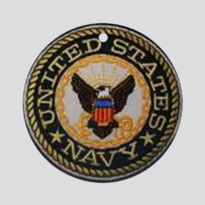 navy Round Ornament