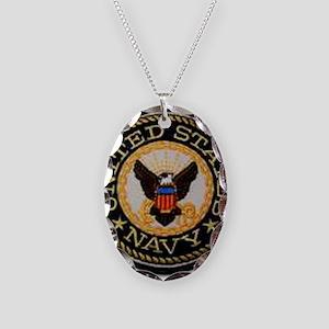navy Necklace Oval Charm