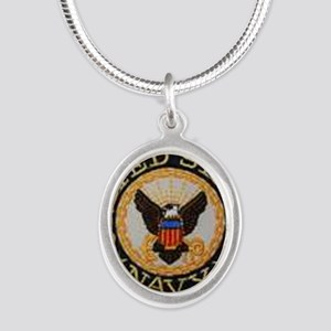 navy Silver Oval Necklace