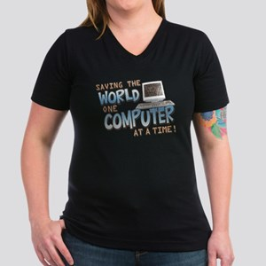 Saving the World Women's V-Neck Dark T-Shirt