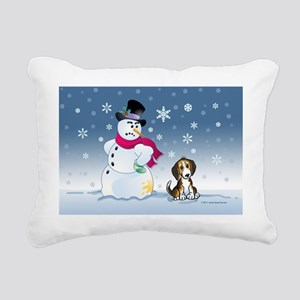 snowmanbeaglecard Rectangular Canvas Pillow