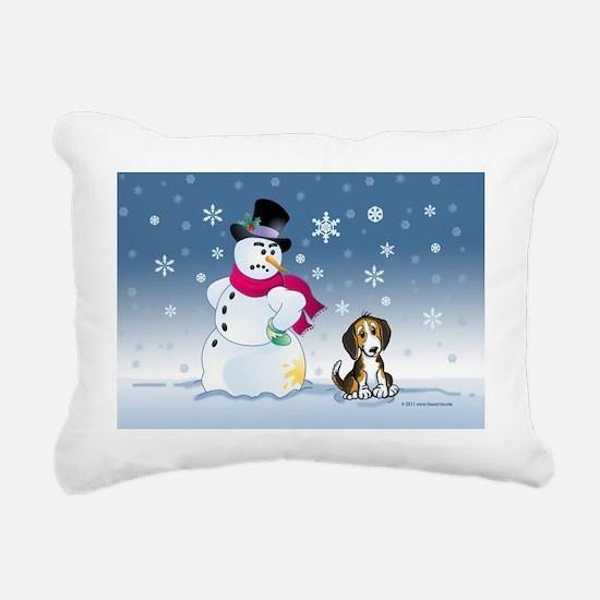 snowmanbeaglecard Rectangular Canvas Pillow