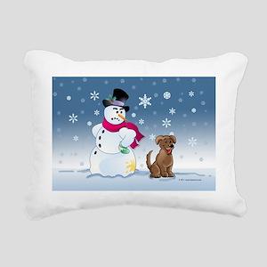 snowmanbrownlabcard Rectangular Canvas Pillow