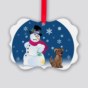 snowmanbrownlaborn Picture Ornament