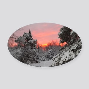 Winter Glow Oval Car Magnet
