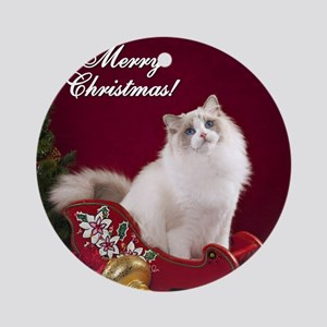 Linden Merry Christmas Tile Coaster Round Ornament