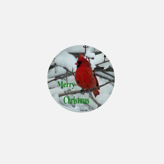 Snow Cardinal Mini Button