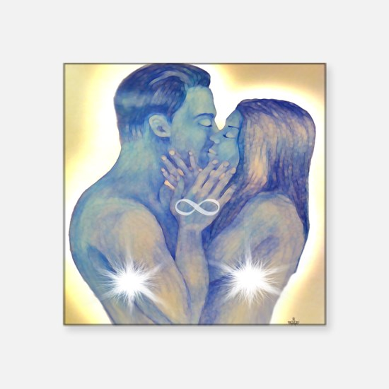 """TwinFlames-bluesouls-5 Square Sticker 3"""" x 3"""""""
