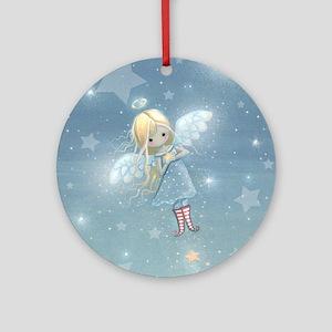 little star angel cp Round Ornament
