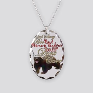 Honey Badger Cool Story Necklace Oval Charm