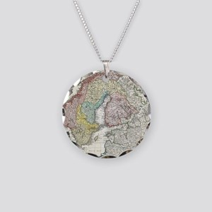 1730_Homann_Map_of_Scandinav Necklace Circle Charm