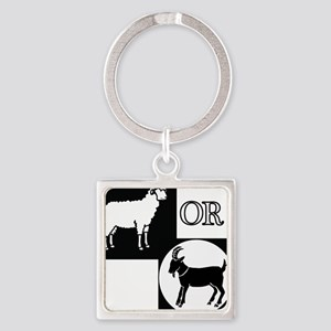 Sheep or Goat silhouette Square Keychain
