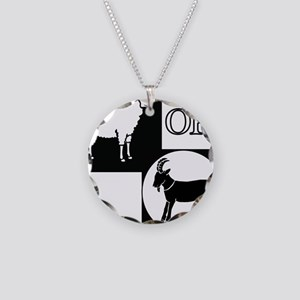 Sheep or Goat silhouette Necklace Circle Charm