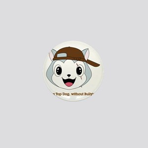top_dog_head_brown_cap Mini Button
