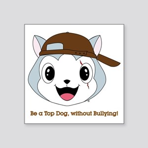 "top_dog_head_brown_cap Square Sticker 3"" x 3"""