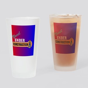 Novel under constrcution red blue t Drinking Glass