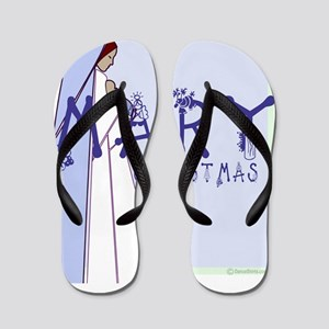 madonna and child with mary christmas c Flip Flops