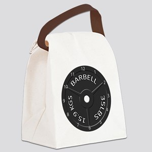 35LB barbell clock 1 Canvas Lunch Bag
