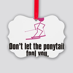 ski ponytail Picture Ornament