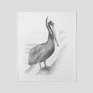 Pelican Pencil Drawing by Brooke Sco Throw Blanket
