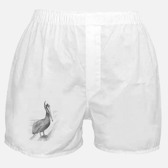 Pelican Pencil Drawing by Brooke Scov Boxer Shorts