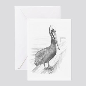 Pelican Pencil Drawing by Brooke Sco Greeting Card