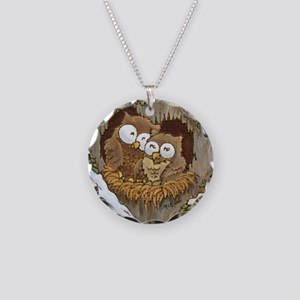 Cozy Owls (square) Necklace Circle Charm