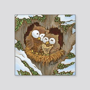 "Cozy Owls (square) Square Sticker 3"" x 3"""